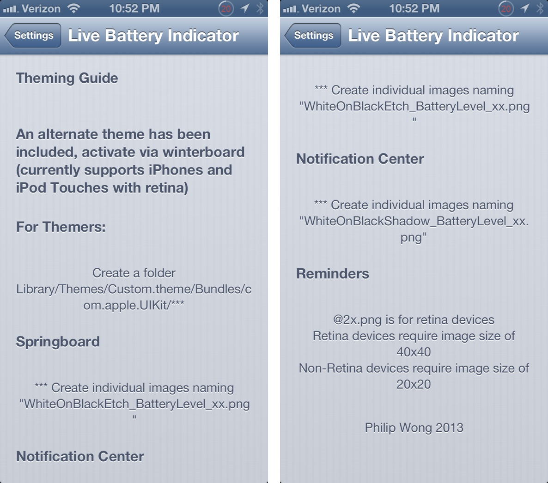 Live Battery Indicator Theme instructions