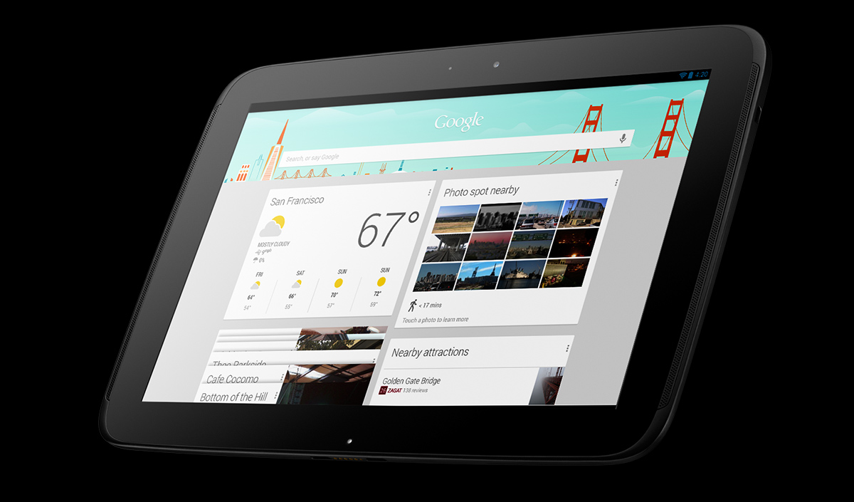 Nexus 10 (front, right angled, Chrome)