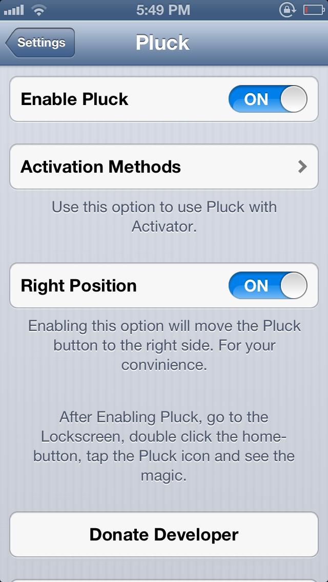 Pluck Settings