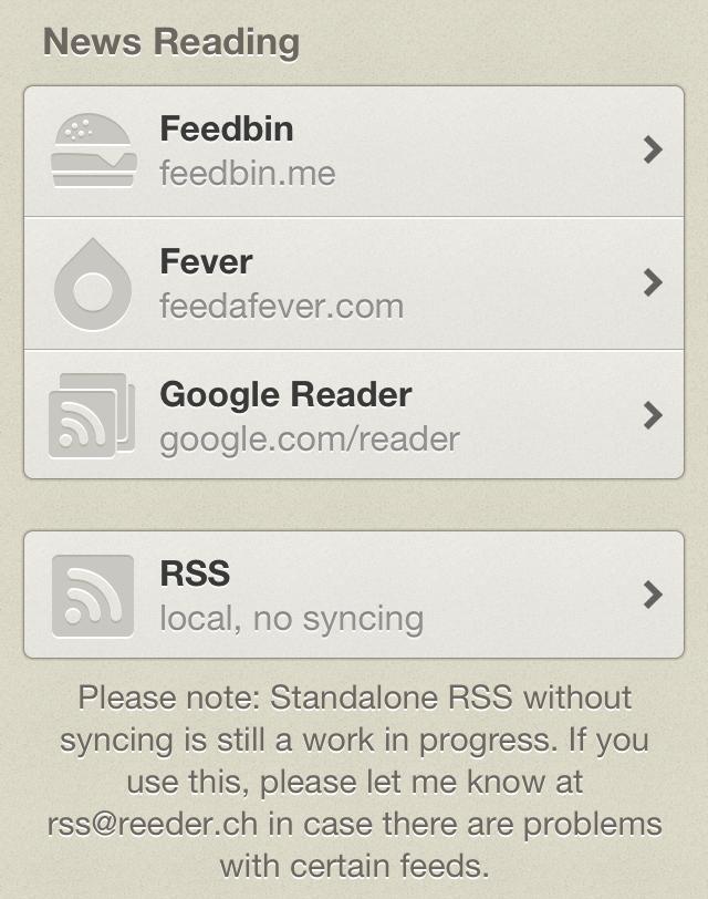 Reeder 3.1 Feebin RSS