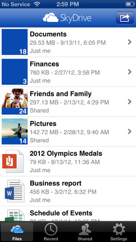 SkyDrive 3.0 for iOS (iPhone screenshot 001)
