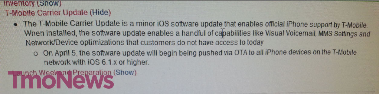 T-Mobile iPhone 5 carrier update notice