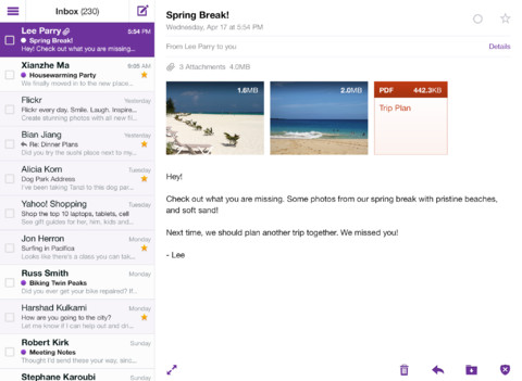 Yahoo Mail 1.5 for iOS (iPad screenshot 004)