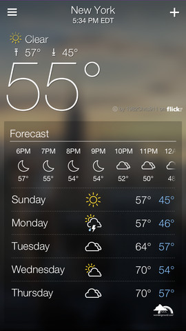 Yahoo Weather 1.0 for iOS (iPhone screenshot 002)