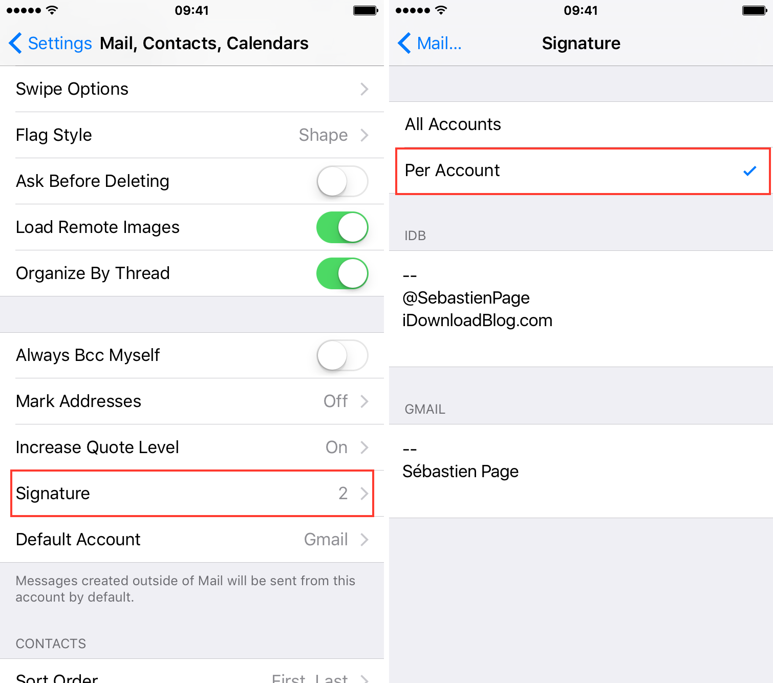 Create multiple email signatures