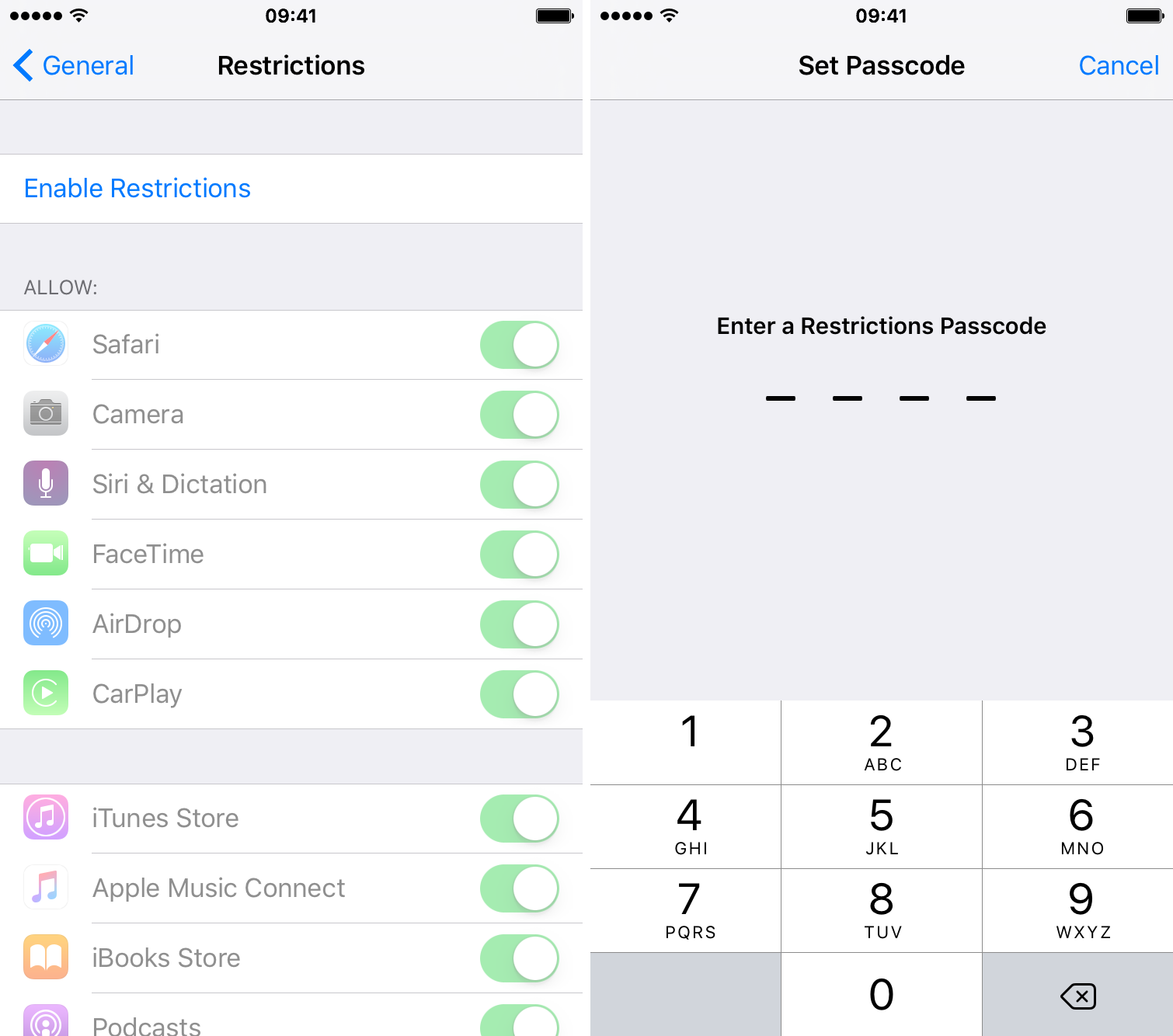 How to set restrictions on iphone