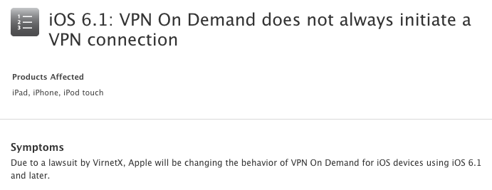 iOS 6.1 VPN On Demand changes