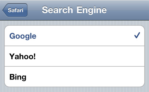 iOS Safari search engine choice