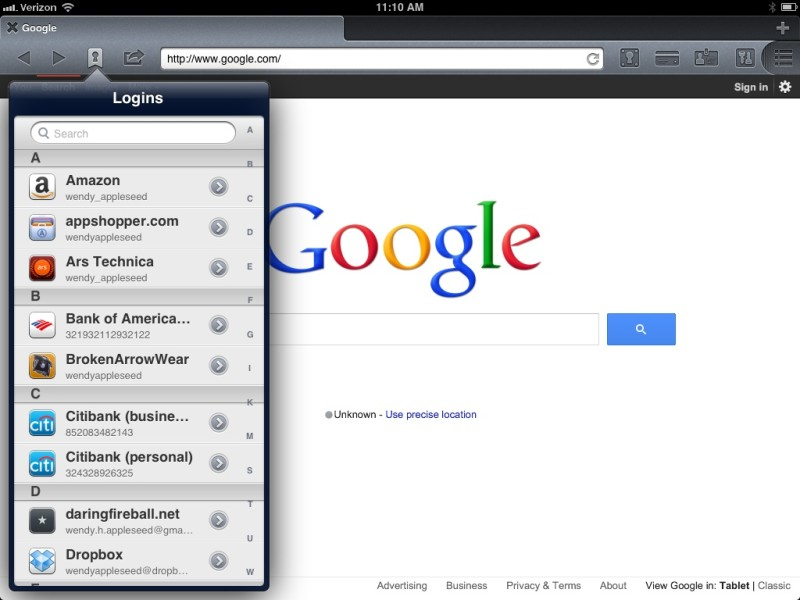 1Password 4.2 for iOS (Go & Fill Logins in 1Browser on iPad)