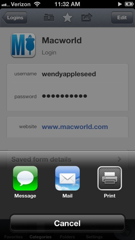 1Password 4.2 for iOS (Share items via iMessage and email on iPhone)