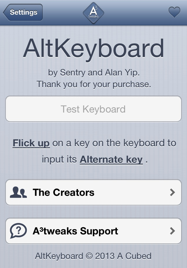 AltKeyboard Prefernces