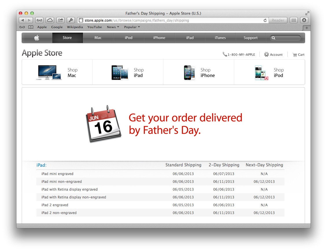 Apple Online Store Father Day 2013 (deadlines)