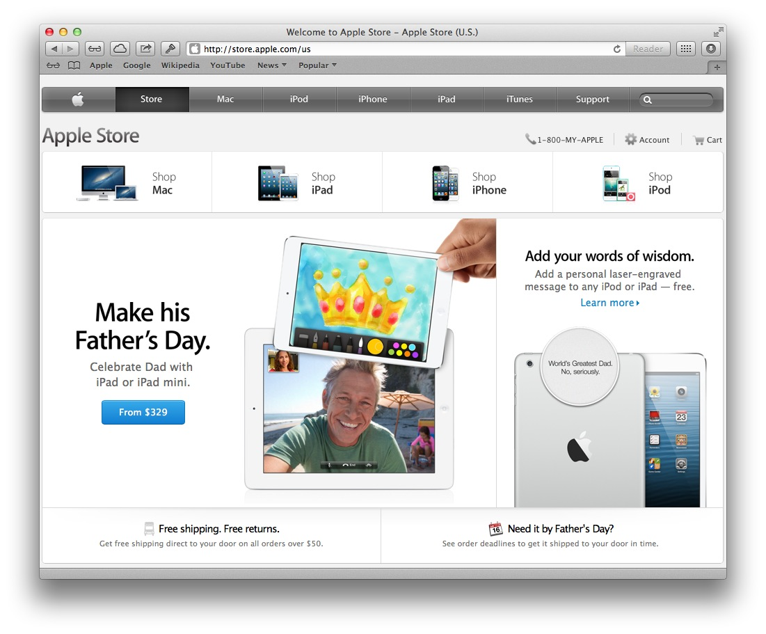 Apple Online Store Father Day 2013