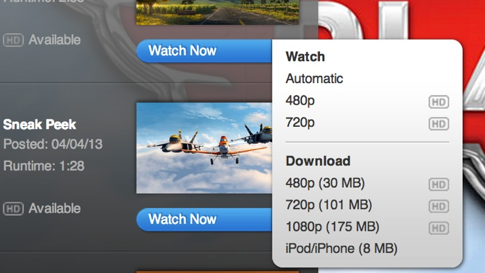 Apple trailers (no download, before)