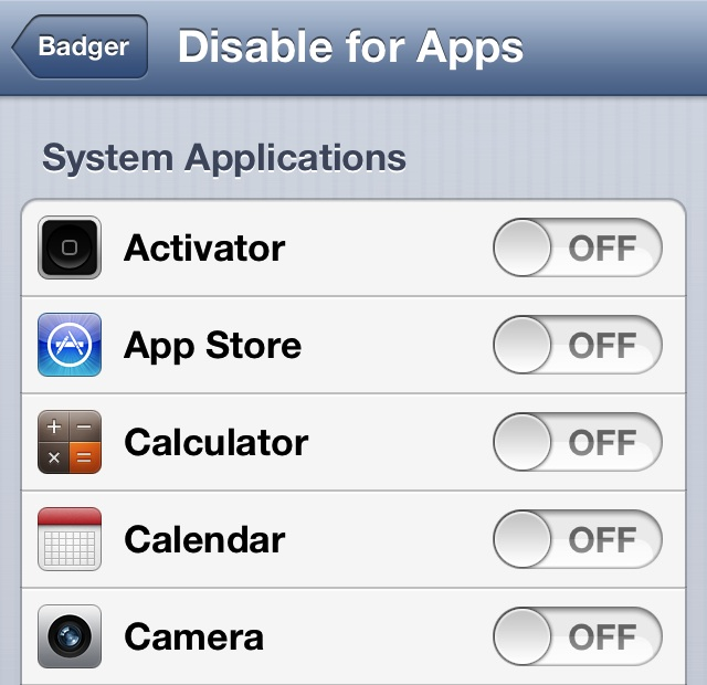 Badger DIsable for apps