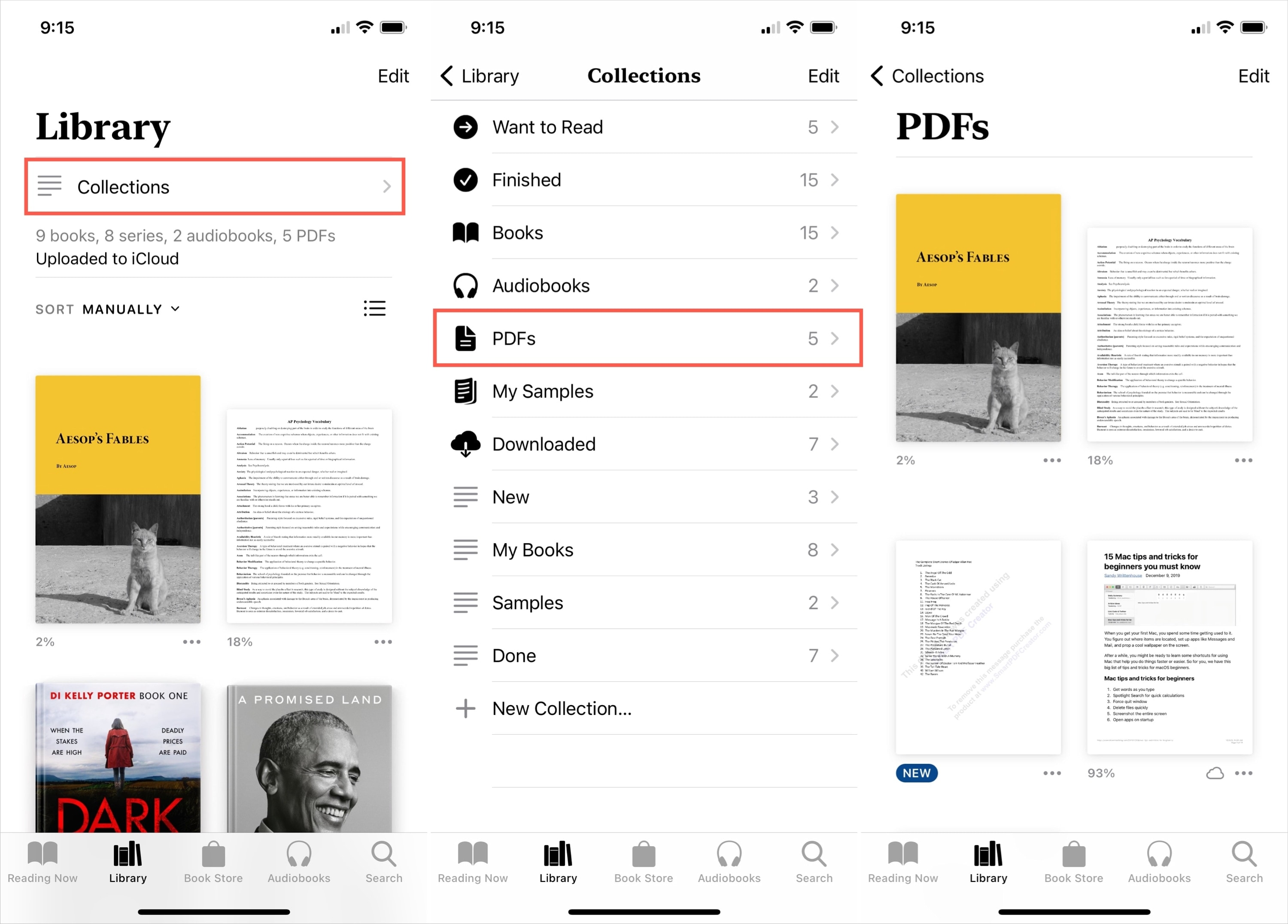 Books, Library, Collections, PDFs on iPhone