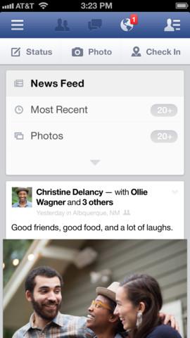 Facebook 6.1 for iOS (iPhone screenshot 001)