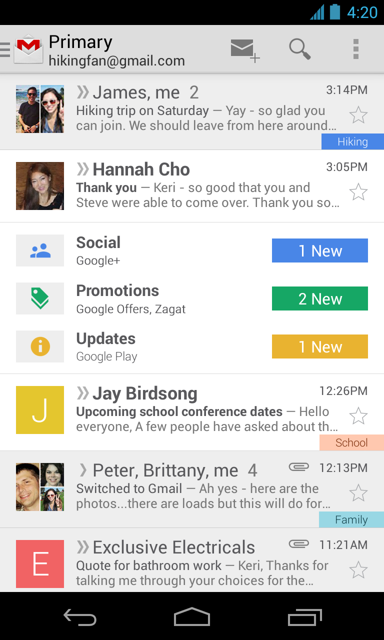 Gmail new inbox (Android)