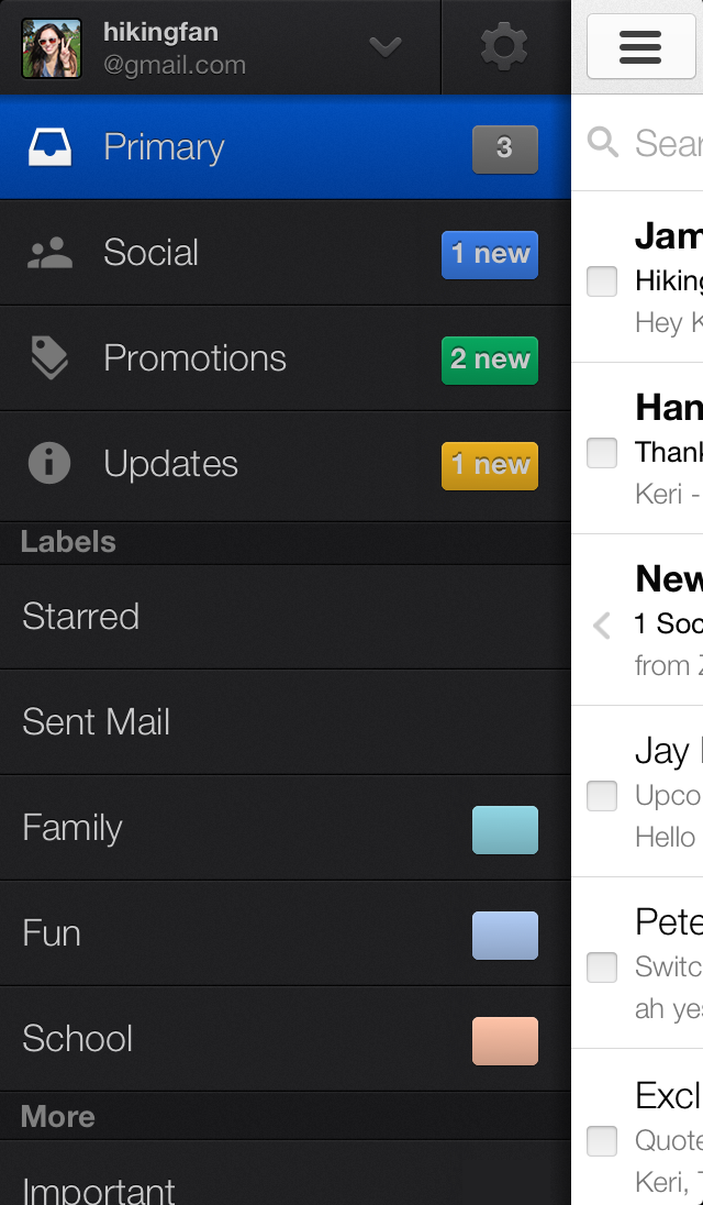 Gmail new inbox (iPhone)