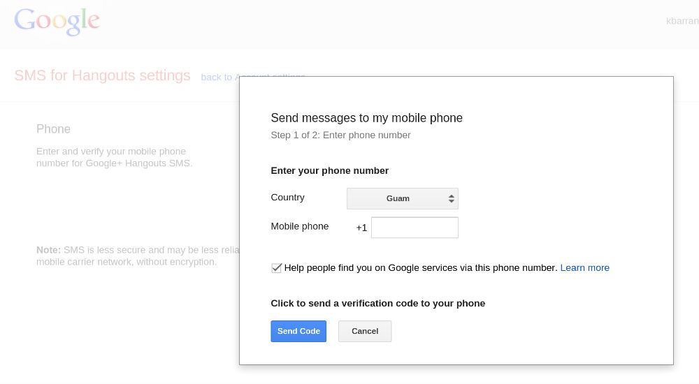 Google Account (SMS for Hangouts)