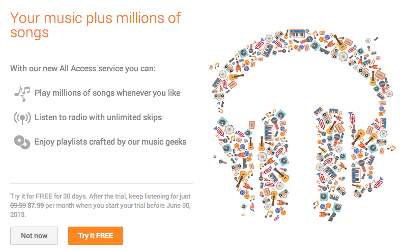 Google Play Music All Acces (sing up for free trial)