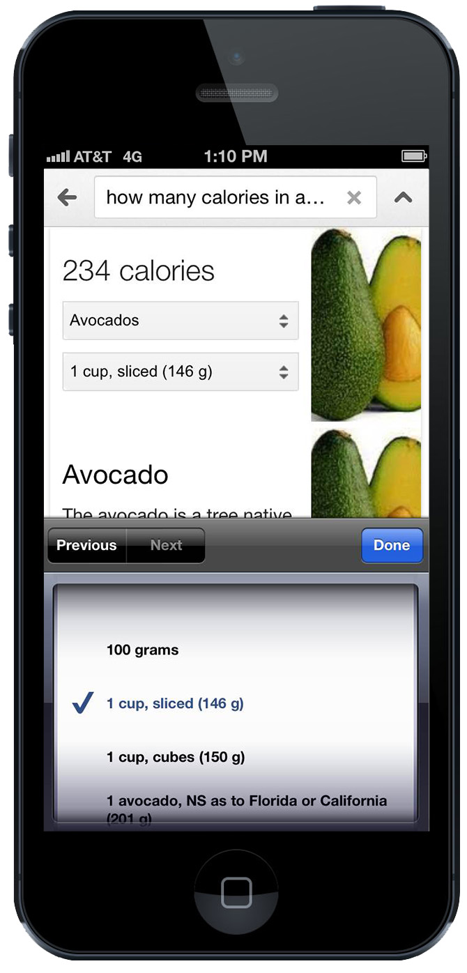 Google nutritional information (avocado with options)