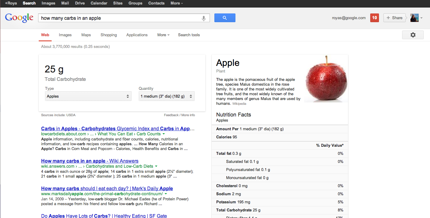 Google nutritional information (web results)
