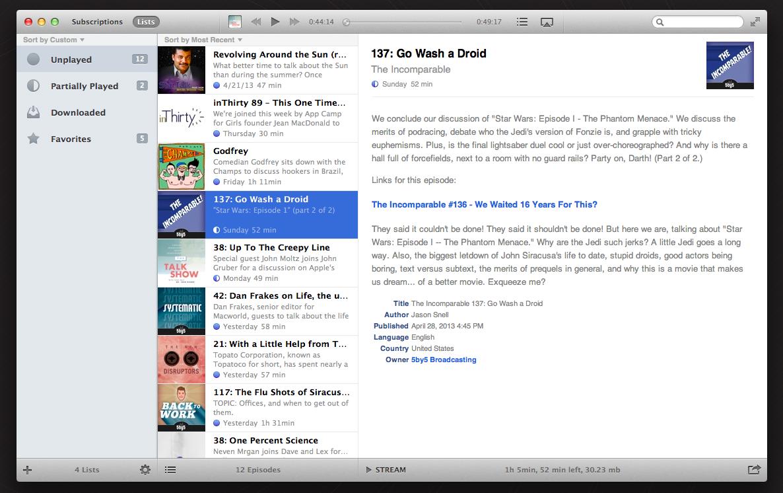 Instacast for Mac Public Beta (screenshot 001)
