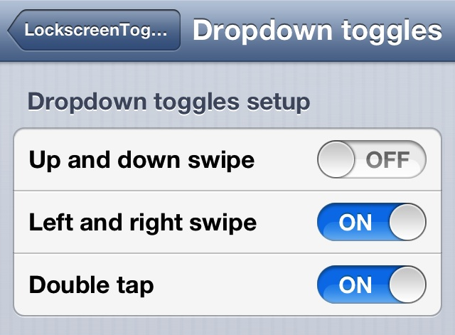 Lockscreen Toggled Dropdown Toggles