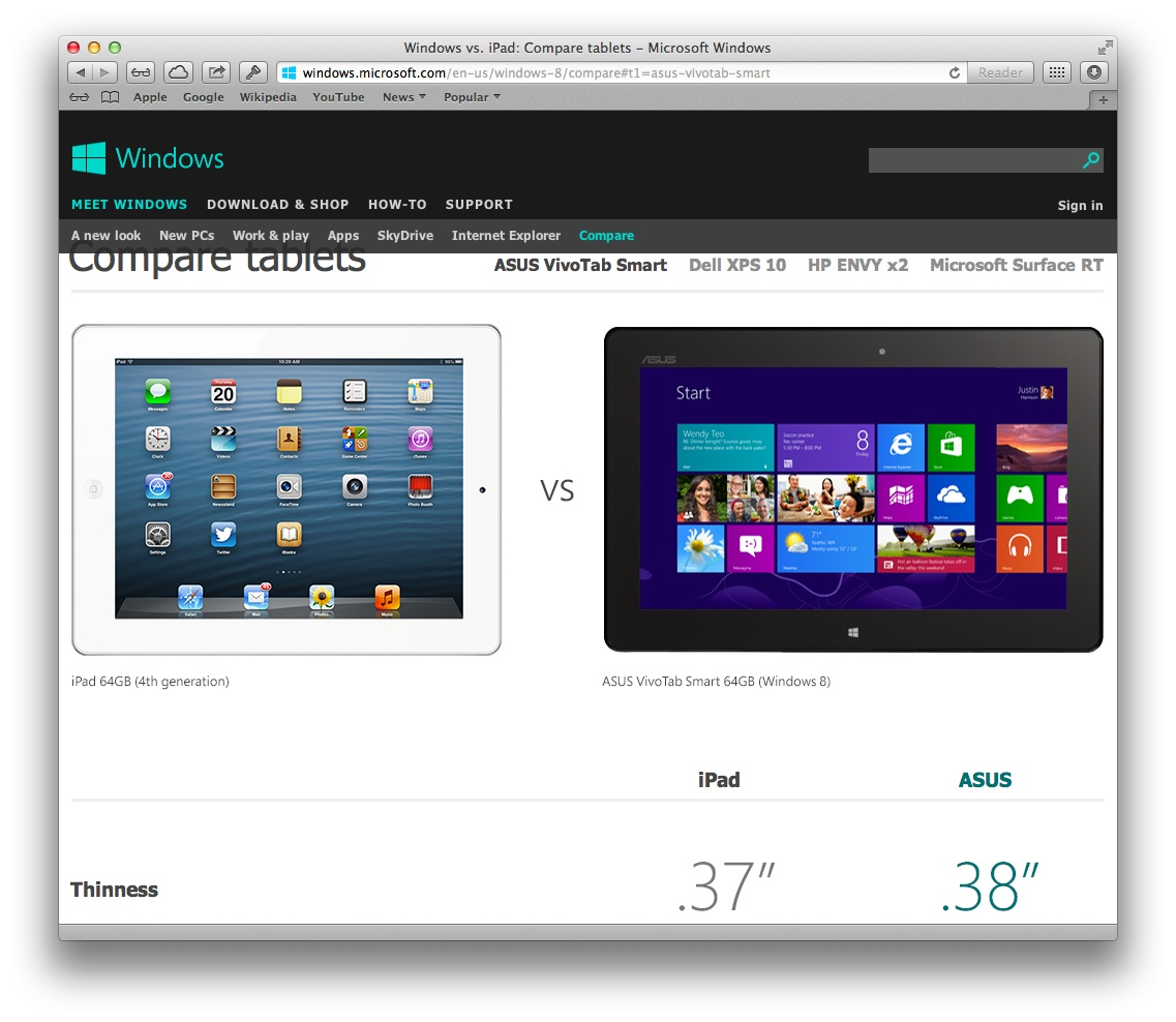 Microsoft compare tablets