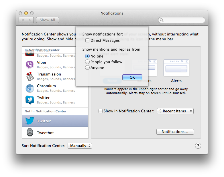 OS X Notification Center (Twitter settings)