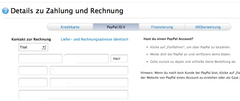 Online Apple Store Germany (PayPal)