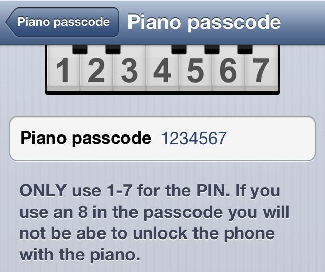 Piano Passcode Config
