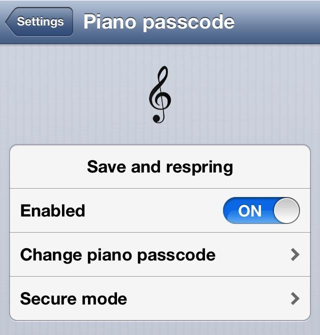 Piano Passcode Settings
