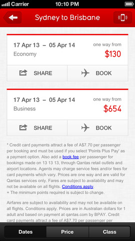 Qantas Airways 10. for iOS (iPhone screenshot 003)