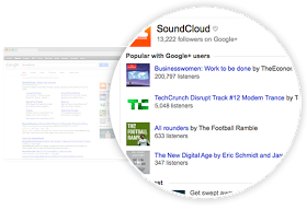 SoundCloud app activity on Google search