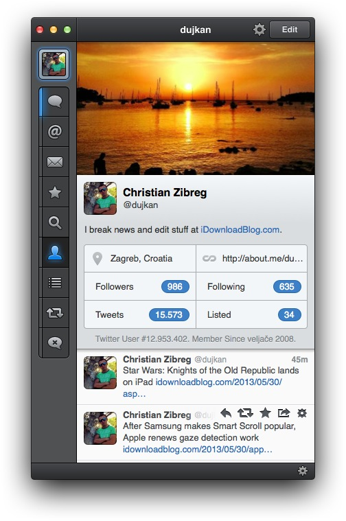 Tweetbot 1.3 for Mac (cover profile image)