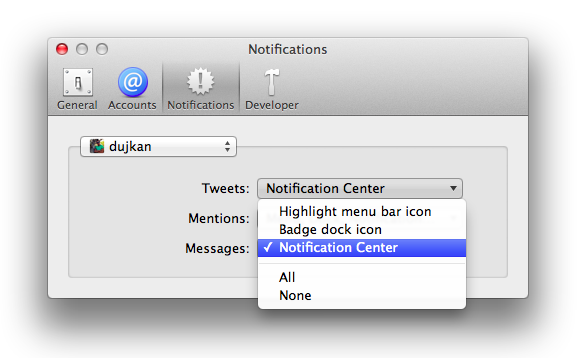 Twitter 2.2.1 for Mac (Settings, Notifications 001)