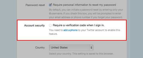 Twitter two-step account security
