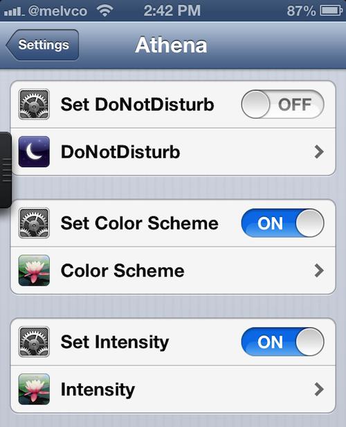 athena settings