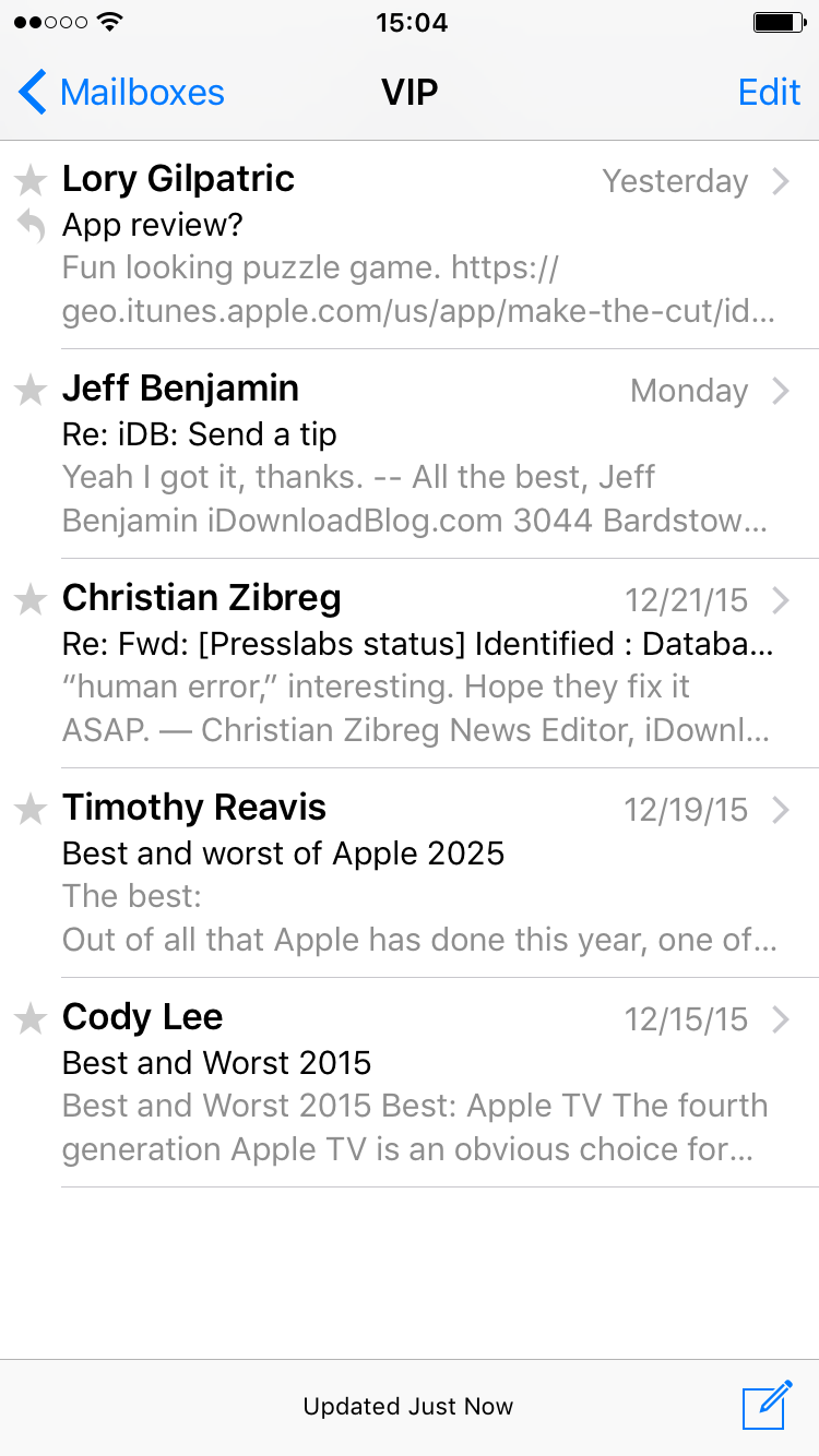 correos electrónicos de VIP