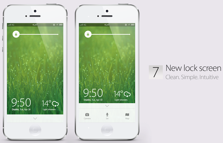 iOS 7 concept (Simply Zesty, Lock screen)