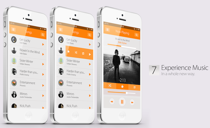 iOS 7 concept (Simply Zesty, Music)