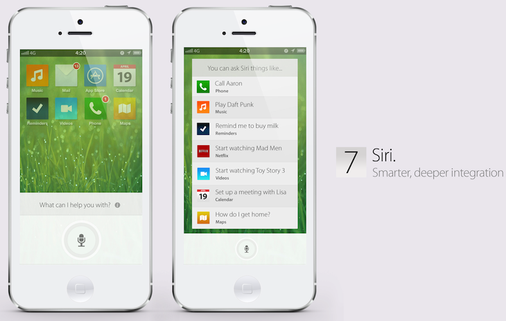 iOS 7 concept (Simply Zesty, Siri)