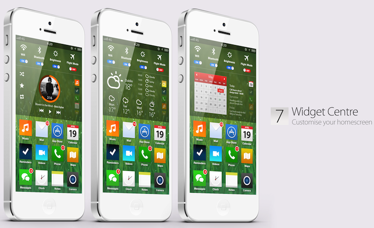 iOS 7 concept (Simply Zesty, Widget Centre)