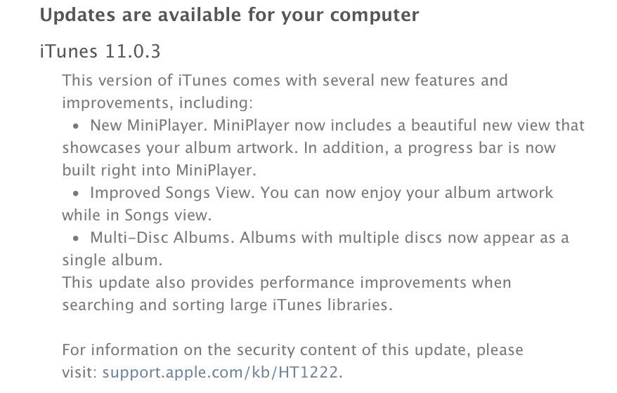 iTunes 11.0.3 change log