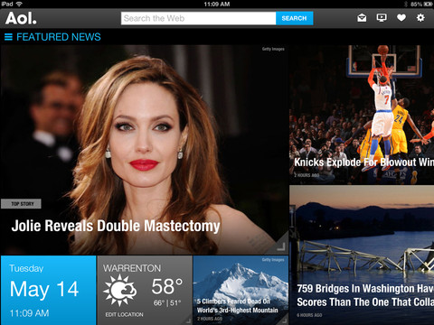 AOL for iOS (iPad screenshot 001)