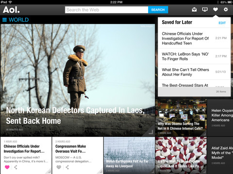 AOL for iOS (iPad screenshot 002)