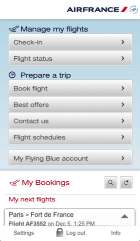 Air France Mobile 4.5.1 for iOS (iPhone screenshot 001)
