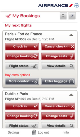 Air France Mobile 4.5.1 for iOS (iPhone screenshot 002)